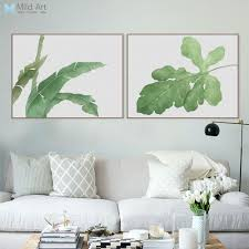 hipster home decor aliexpress com buy modern watercolor green leaf plant poster