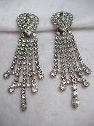 rhinestone chandelier earrings vintage costume earrings signed 1950s white rhinestone chandelier