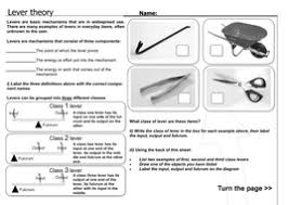 lever theory worksheet ks3 by informingeducation teaching