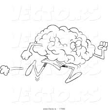 Vector Of A Cartoon Running Brain Coloring Page Outline By Brain Coloring Page
