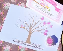 pink owl baby shower invitations owl baby shower fingerprint tree printable and edit