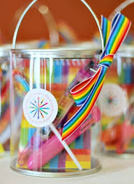 Rainbow Themed Birthday Favors by Must Do Favors Trading Rainbow Notebook Stacking