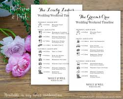 Wedding Itinerary Bridal Party Wedding Timeline Printed Cards Wedding Itinerary