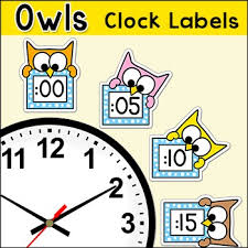 theme clock owl theme telling time clock labels back to school classroom decor