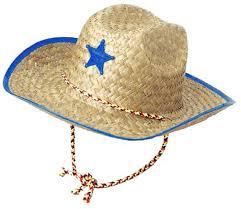 cowboy hat halloween amazon com boys kids straw cowboy hat with blue star sheriff
