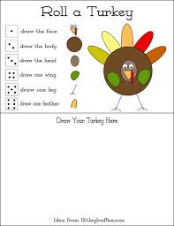 roll a turkey thanksgiving printables 4