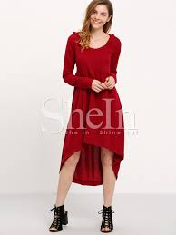 wine red hooded hoodie asymetric long sleeve high low dress shein