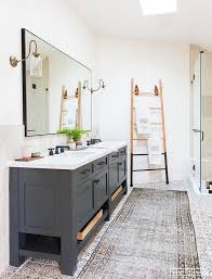 Dark Gray Bathroom Vanity Dark Gray Dual Bath Vanity With Brass And Glass Sconces