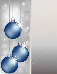 blue christmas ornaments on a silver background u2014 stock vector