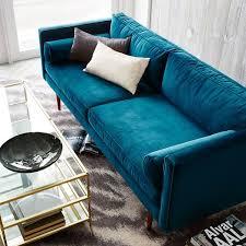 monroe mid century sofa luster velvet celestial blue mid