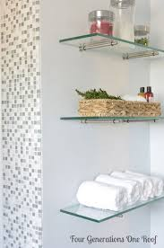 Floating Glass Shelves For Bathroom Diy Bathroom Renovation Reveal Glass Shelves Powder Room And