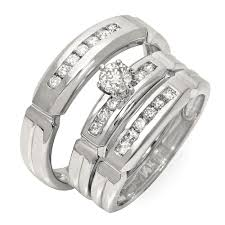 trio wedding sets luxurious trio marriage rings half carat cut diamond on gold
