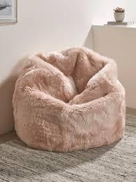 sumptuous sheepskin beanbag blush