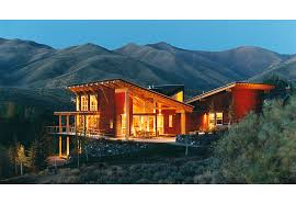 shed style homes twilight contemporary modern exposed structure mountain style home