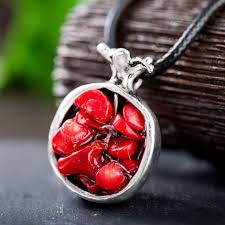 stone pendant leather necklace images Ethnic alloy oriental charm of pomegranate stone pendant necklace jpg