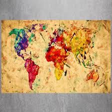 World Map Canvas Art by Aliexpress Com Buy Watercolor World Map Canvas Art Print