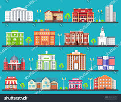 Colorful City Flat Colorful City Buildings Set Icon Stock Vector 451122793
