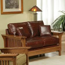 Mission Style Loveseat Appealing Brown Chocolate Wooden Leather Mission Style Sofa Wooden