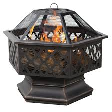 uniflame 24 in hex shaped lattice fire pit in oil rubbed bronze