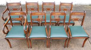 Regency Dining Chairs Mahogany Set Of Eight Antique Regency Style Brass Inlaid Mahogany Dining Chairs