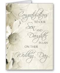 Wedding Greeting Card Verses Son And Daughter In Law Wedding Congratulations Card Son And