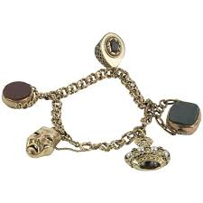 antique charm bracelet images Antique watch fobs gold charm bracelet for sale at 1stdibs jpg