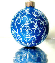 small blue and white christmas ornament hand painted glass