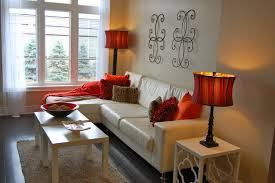 living room with red accents contemporary townhouse staged red accent traditional living