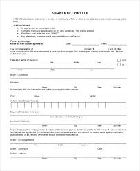printable vehicle bill of sale menu and free printables