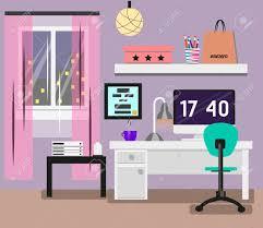 Pink Computer Desk Bedroom Interior In Flat Design Room In Pink Colors With Window