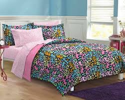 Girls Queen Comforter Pink Rainbow Leopard Teen Bedding Twin Xl Full Queen Bed In A