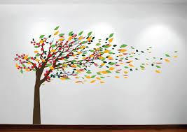 innovative stencils wind blowing tree cherry blossom nursery wall