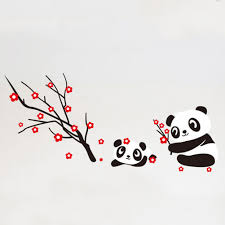 baby panda decoration promotion shop for promotional baby panda new fashon two lovely baby panda wall sticker home decoration panda and cherry blossom tree cartoon wall stickers removeable