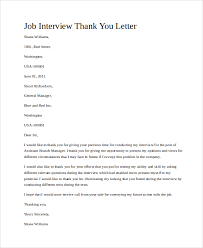 sample job interview thank you letter sample interview thank you letter 10 examples in word pdf