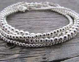 bead bracelet silver images Silver bead bracelet etsy jpg