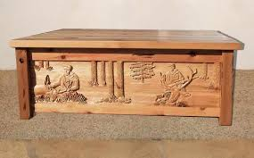 Carved Coffee Table Coffee Table Hunting In North America Cbc100 Custom Doors