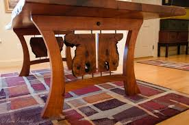 hand crafted dining table live edge slab with inset glass