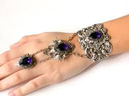 crystal ring bracelet images Swarovski purple slave bracelet gothic silver ring bracelet jpg