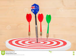 Australia Flags Darts Arrow With Australia Flags On Dart Board Stock Photo Image