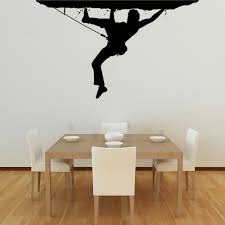 black climber picture on white wall paint as cool simple paintings