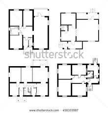 ground floor plan set ground floor blueprints vector unfurnished stock vector
