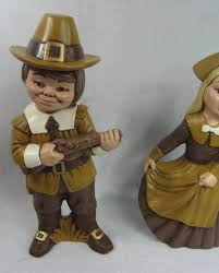 decorative vintage thanksgiving pilgrim boy and figurines ceramic