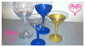 martini glass painting diy put glitter on wine u0026 martini glasses youtube