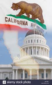 California State Flag Montage Of California With State Capitol Building Dome In