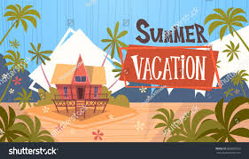summer vacation bungalow house on sea stock vector 682802503
