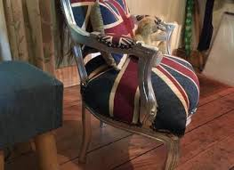 french louis shabby chic union jack with silver leaf frame salon