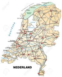 map netherlands map of netherlands with highways in pastel orange royalty free