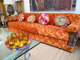 Orange Pillows For Sofa by Orange Red Brocade Sofa 1960 U0027s Uzbeki Pillows Handblown