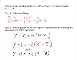 determining the equation of lines in point slope form given 2 points