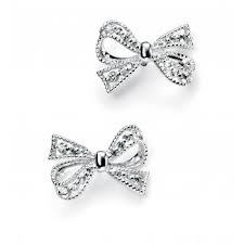 bow earrings elements silver bow earrings in sterling silver with cubic